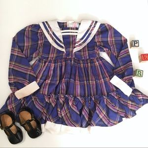 Vintage plaid schoolgirl dress sailor collar